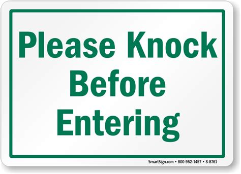 what to say before entering the bathroom please knock before entering sign sku s 8761
