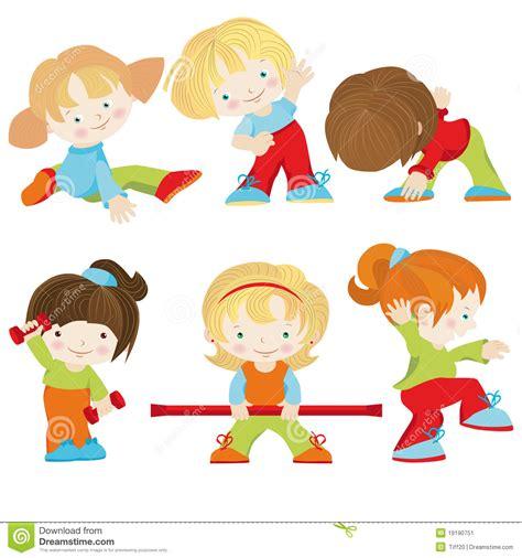 imagenes niños haciendo ejercicio fisico ejercicios de los deportes ilustraci 243 n del vector