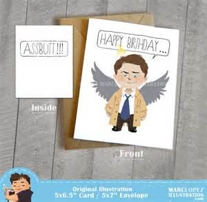 castiel birthday assbutt card supernatural fan by marclopez