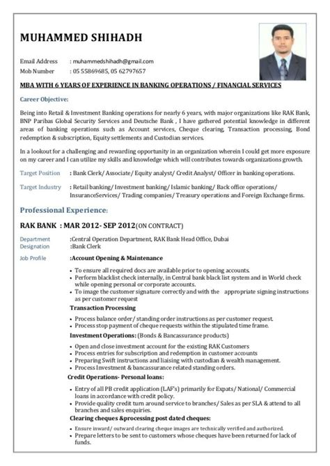Resume Sle For Banking Sector Resume Format For Banking Sector For Freshers 28 Images 10000 Cv And Resume Sles With Free