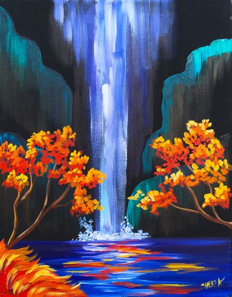 watercolor waterfall tutorial autumn aloha easy step by step waterfall acrylic painting