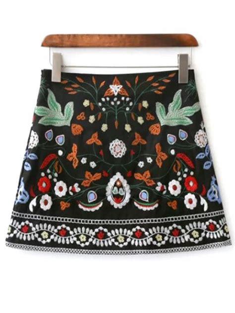 Mini Floral Skirt Black mini floral embroidered flare skirt black skirts m zaful