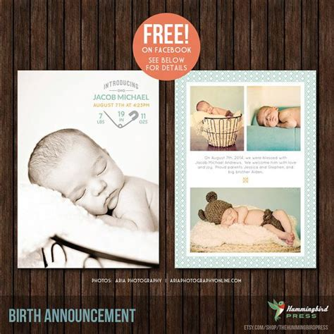 5x7 birth announcement template b33 collage template