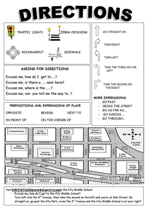 giving directions printable exercises giving directions vocabulary pdf google search ingl 233 s