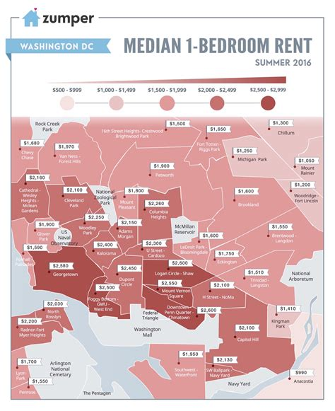 Apartment Price Map Infographic How Much Is It To Rent A One Bedroom In Dc