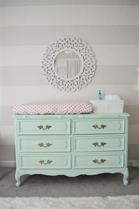 Harper S Mint Pink And Coral Nursery Striped Walls Nursery Dresser And Changing Table