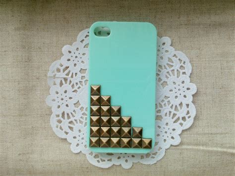 Painting Phone Plastic For Iphone 55sse B2 1 bronze pyramid stud mint green cover for apple iphone 4 iphone 4s iphone 4