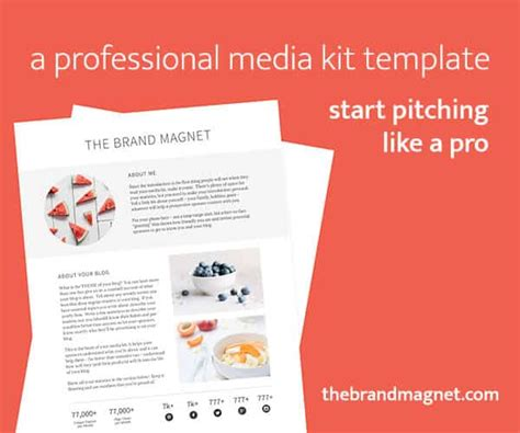 Food Blogger Media Kit Template Feast Design Co Instagram Media Kit Template