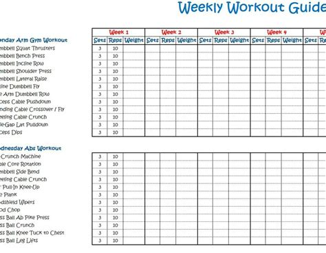 Calendar Schedule Weekly Workout Schedule