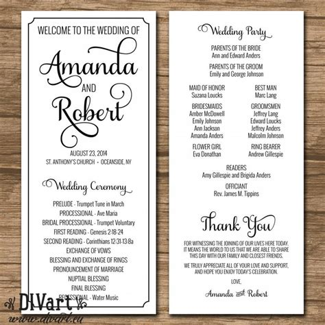 simple wedding program template wedding program ceremony program printable