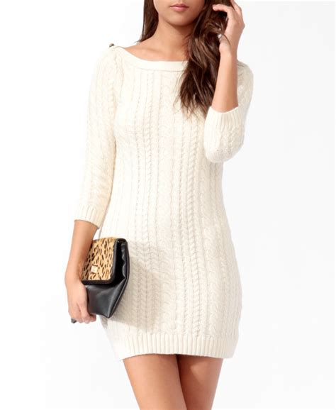 white cable knit sweater dress essential cable knit sweater dress from forever 21