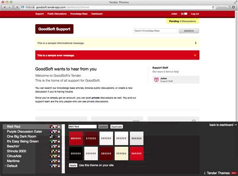javascript themes tender support customize the look and feel of your site