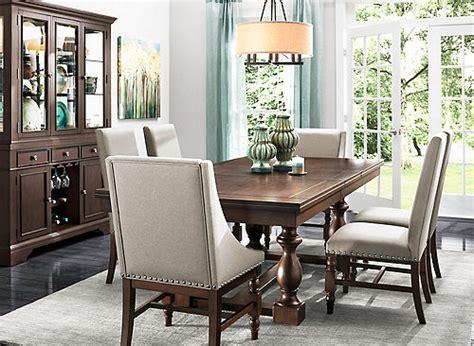 dining room furniture center halloran 7 pc dining set stone gray cherry raymour