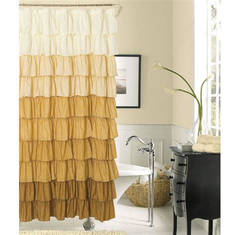 Brown Curtains With Design Inspiration Brown To White Ruffled Shower Curtain Added Black Wooden Dresser Also