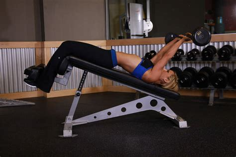 decline bench triceps extension decline ez bar triceps extension exercise guide and video