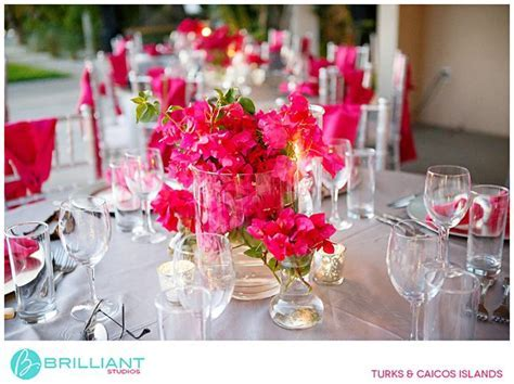 Pink bougainvillea for wedding reception centerpiece