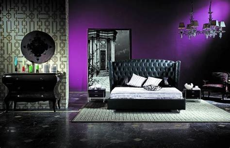 purple feature wall bedroom deep purple feature wall black and white everything else