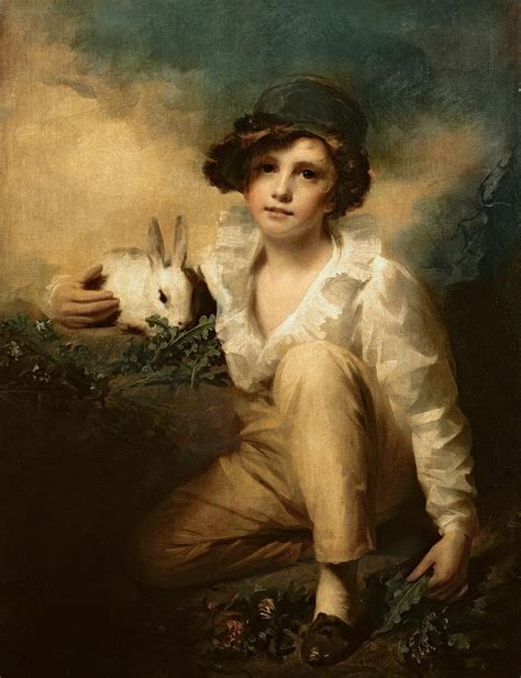 a portrait of the artist as a books boy and rabbit painting by sir henry raeburn
