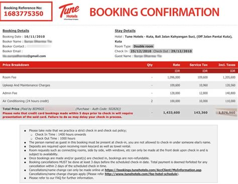 Reservation Through Letter indonesia on the trail tune hotel budget hotel with 5