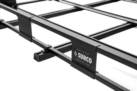 surco safari roof rack surco safari rack 5 0 rooftop cargo basket for factory rails 84 quot long x 50 quot wide surco