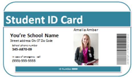 student id card template word student academic help templates for word and excel