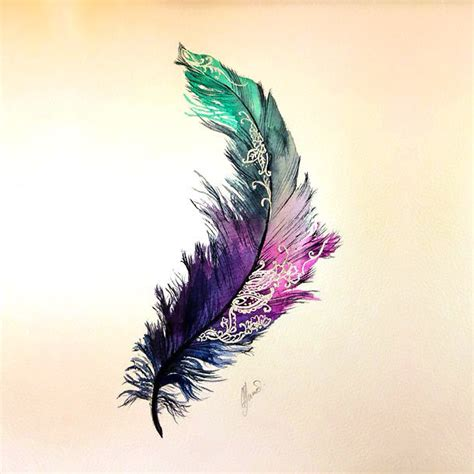 feather tattoo designs gallery colorful feather tattoo design