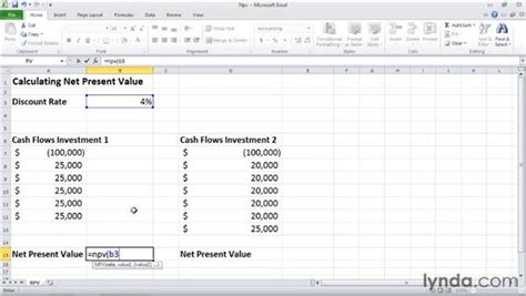 excel tutorial npv npv calculating the net present value of an investment