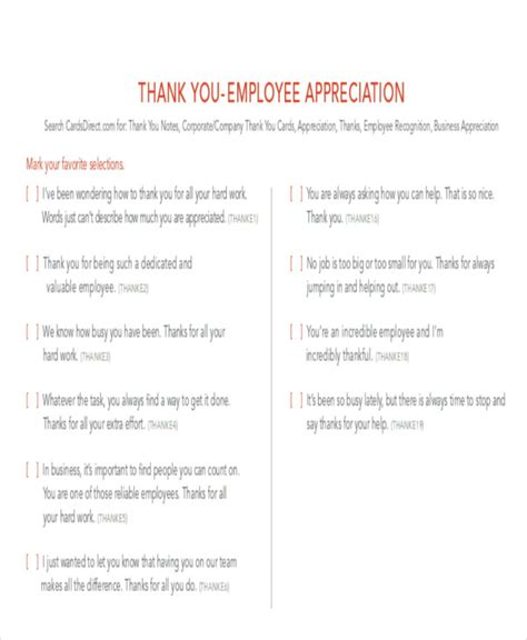 employee thank you card template 8 sle thank you notes to employee sle templates