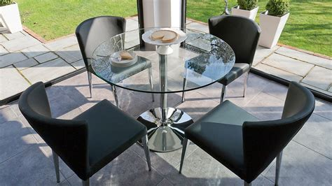 Modern Round Clear Glass Dining Set 4 Curved Chairs With 4 Seater Glass Dining Table Sets