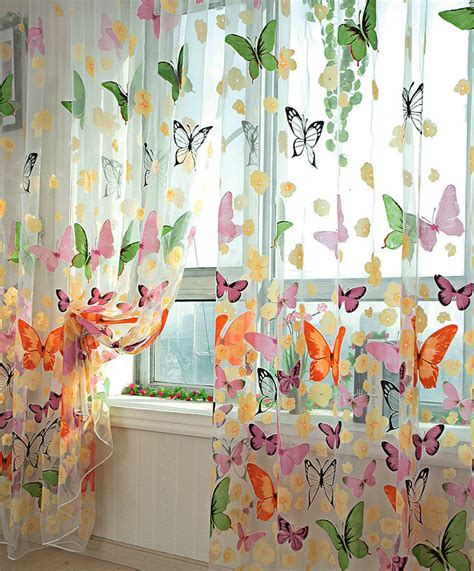 colorful sheer curtains colorful butterfly sheer curtains voile sheer panels with