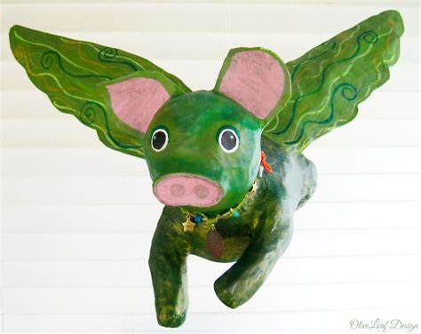 How To Make A Paper Mache Pig - paper mache flying pig oliveloaf design