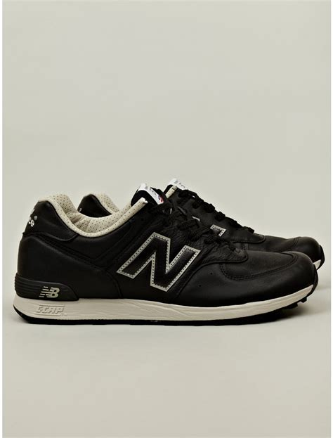 new balance leather sneakers new balance m576 leather sneaker in black for lyst