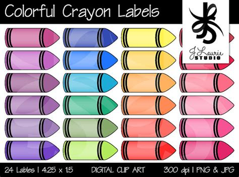digital clipart colorful crayon labels printable crayola
