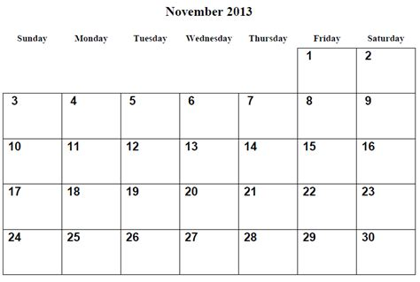 Printable Calendar November 2013 5 best images of november 2013 calendar printable