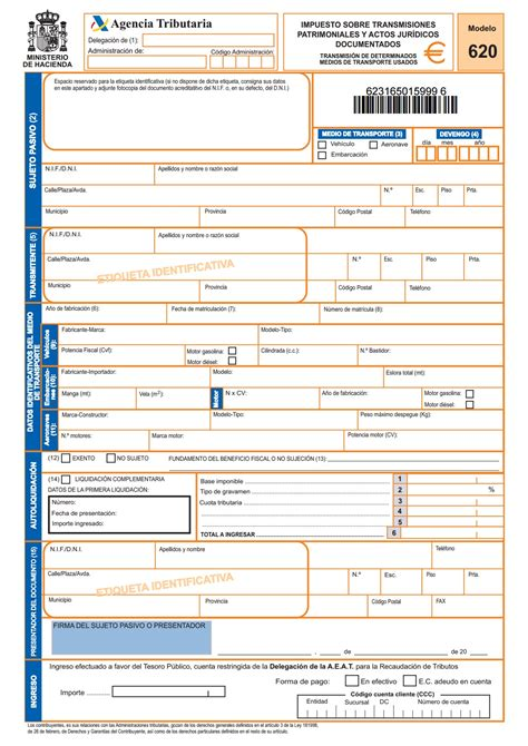 impuestos de vehiculo 2016 qu 233 es el modelo 620 y c 243 mo rellenarlo correctamente