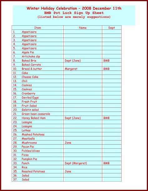 potluck menu template food sign up sheet template haisume