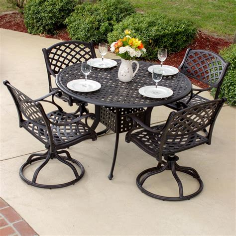 Patio Dining Sets For 4 Heritage 4 Person Cast Aluminum Patio Dining Set Ultimate Patio