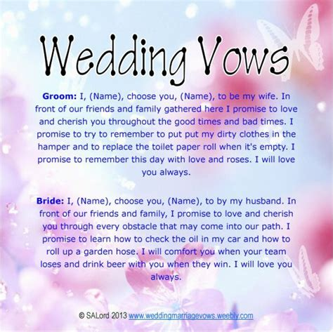 7 Creative Wedding Vows by Unique Wedding Vows Wedding Marriage Vows Silly