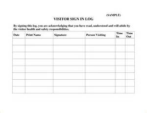 5 visitor log template outline templates