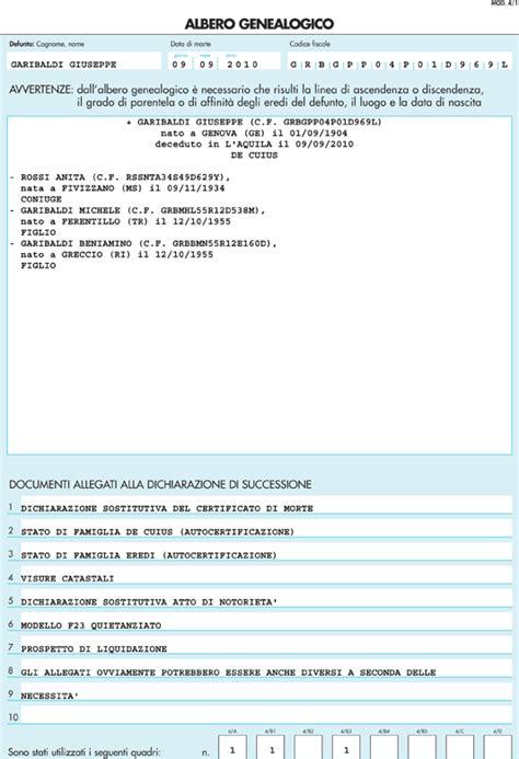dichiarazione prima casa successione modello 4 per dichiarazione di successione albero genealogico