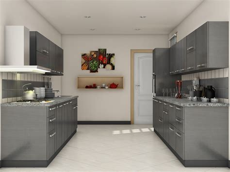 Modular Kitchen Ideas | grey modular kitchen designs parallel shaped modular