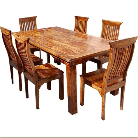 Set Dining Table Dallas Ranch Solid Wood Rustic Dining Table Chairs Hutch Set