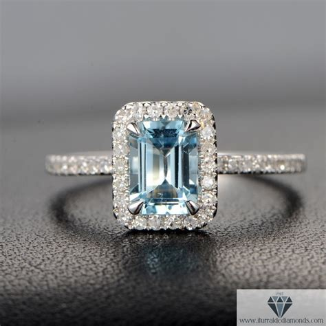emerald cut aquamarine pave ring