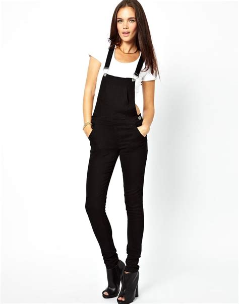 Overall Black T3009 3 black denim dungarees mynexttrend feels like school trends overalls and