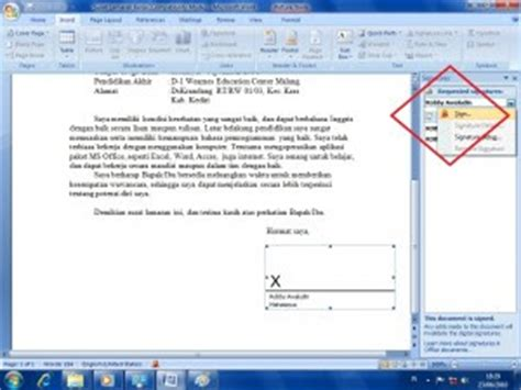 cara membuat cv di ms word 2007 membuat tanda tangan digital di ms word 2007 gretchen