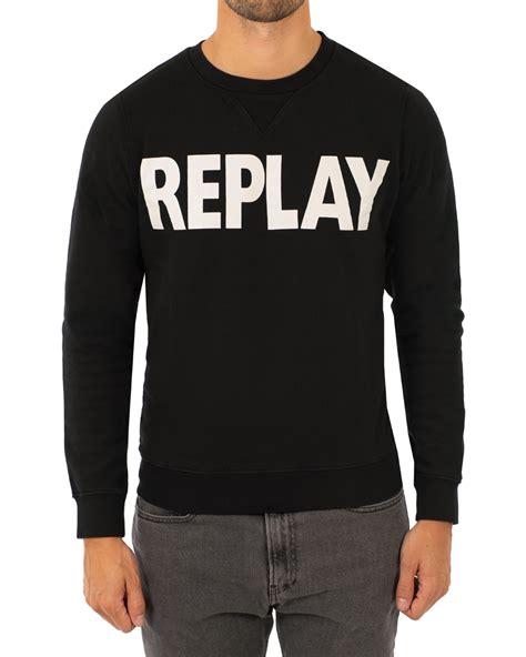Replay Sweatshirt replay crew neck logo sweatshirt black hos careofcarl