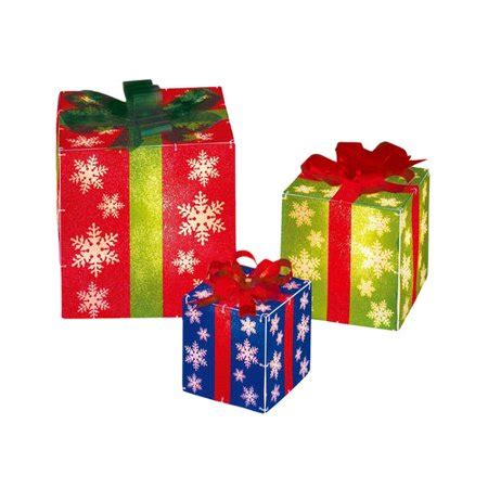 set of 3 lighted glistening prismatic gift box christmas yard art decoration time lighted gift boxes 3pc walmart