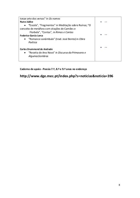Lista livros-metas - 3º ciclo