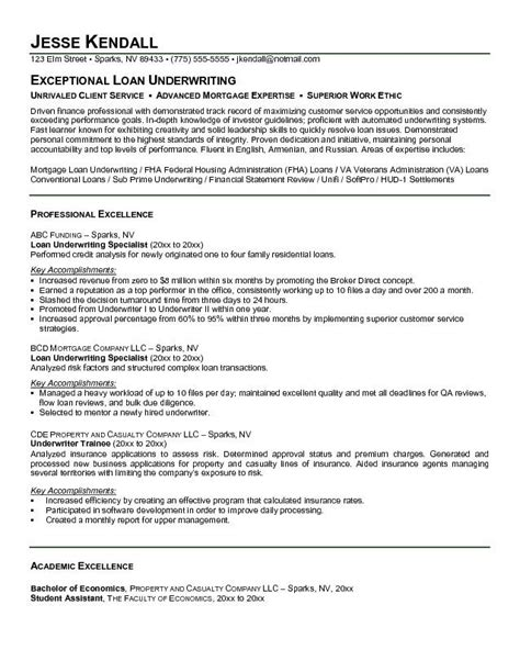 Sle Insurance Underwriter Resume by Underwriter Resume Sle Accounting Assistant 28 Images Resume Exle Insurance Underwriter