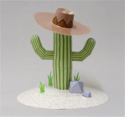 Cactus Papercraft - cactus plant paper model for decoration pepakura corner